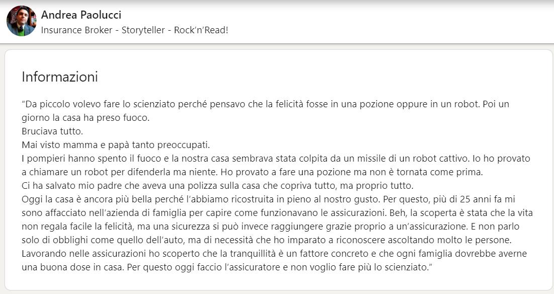 Esempio: Riepilogo LinkedIn di Andrea Paolucci
