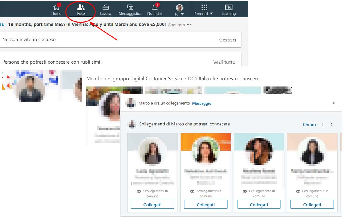Procedura: collegamenti linkedin menu rete