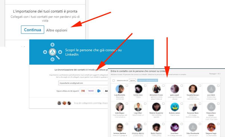 Procedura Linkedin: aggiungi contatti rubrica
