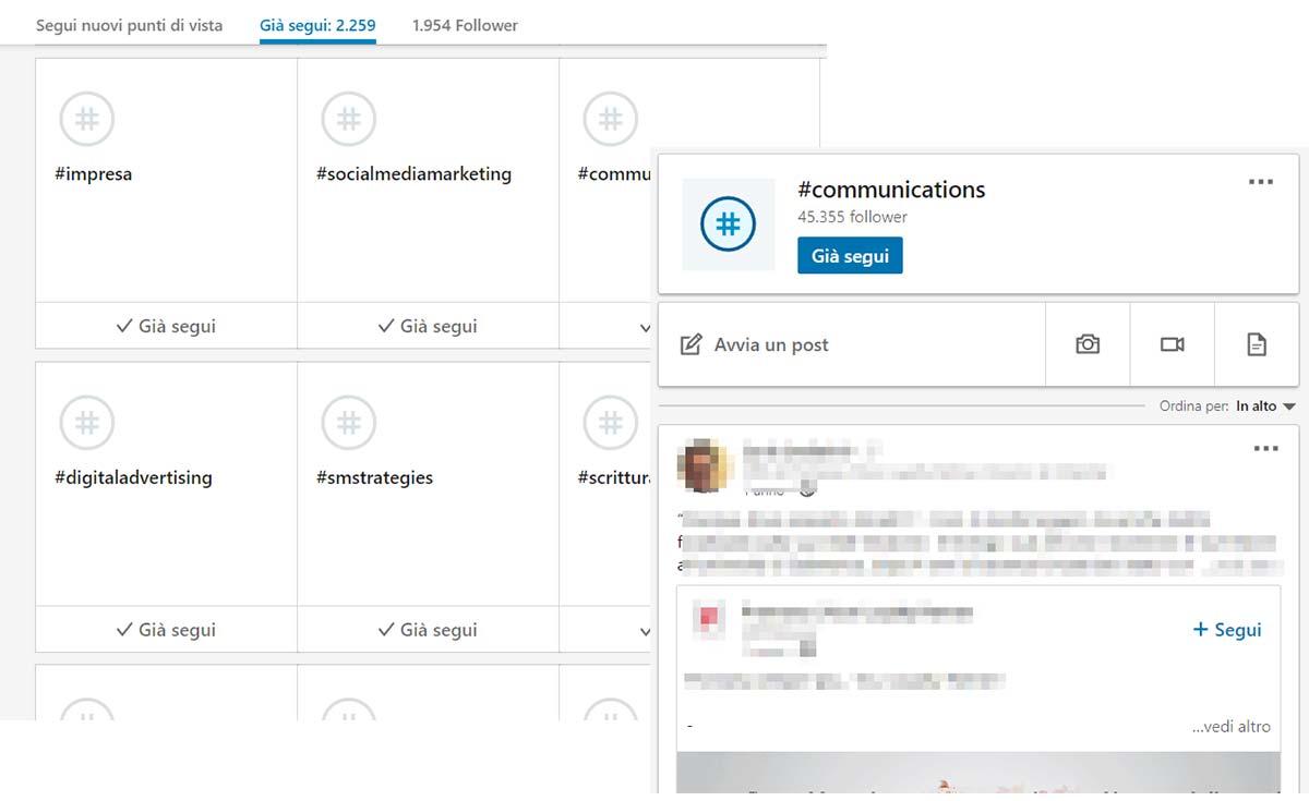 Collegamenti LinkedIn hashtag