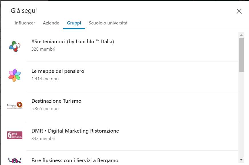 Collegamenti LinkedIn attraverso i gruppi