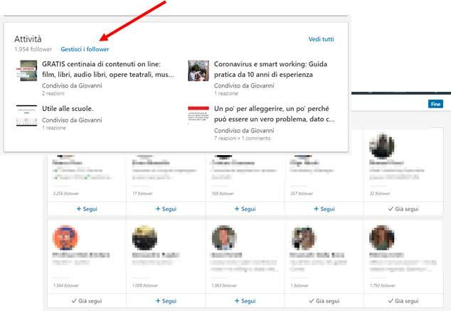 Collegamenti LinkedIn segui chi ti segue