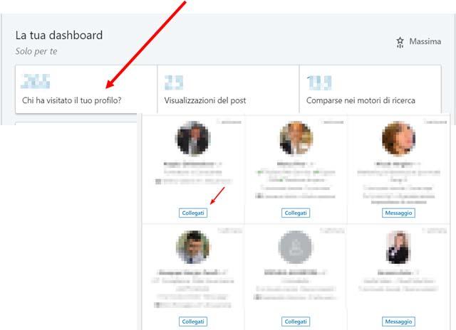 Collegamenti LinkedIn segui chi ha visitato te